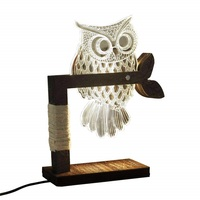 Bedside Lamp Deco Wood LED Dimmable Table Lamp with 3D Visual Acrylic Owl Warm White Bed Lamp Perfect for Bedroom Living Room