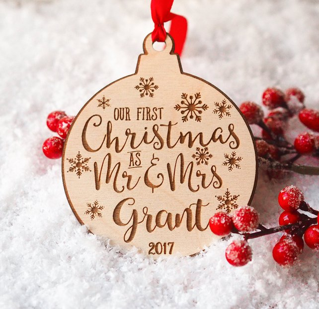 Personalized Christmas Decor.Us 8 23 15 Off Personalized Christmas Ornaments Mr And Mrs Gifts Couple Newlywed Gift Just Married In Party Favors From Home Garden On