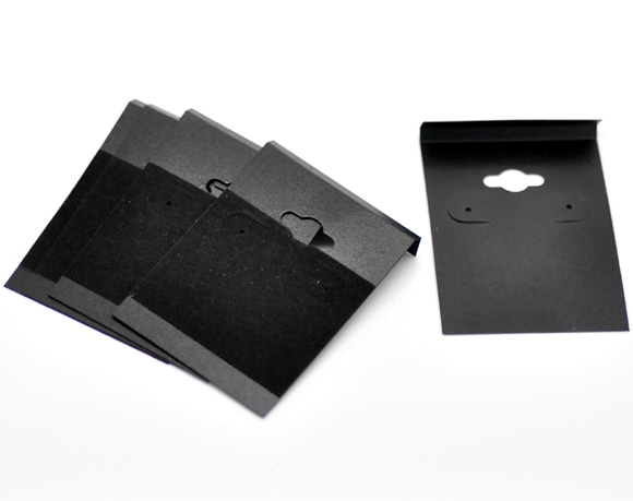 DoreenBeads Black Ear Hooks Earring Plastic Display Cards 6.2x4.5cm(2-1/2