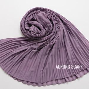 Image 4 - Een Stuk Vrouwen Wraps Lange Sjaals Moslim Crinkle Ruche Hijaabs Solid Plain Geplooide Chiffon Hijab Sjaal