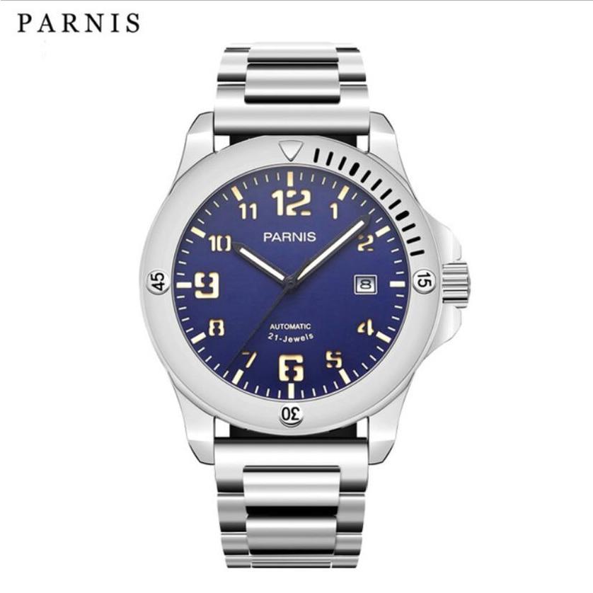 44mm PARNIS Blue Dial Super Luminous Date Stainless Steel Band Luxury Miyota Automatic Movement men's Watch laroom зеленые укороченные брюки
