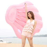 160 Giant Inflatable White Pink Shell Pool Float For Women Lie on Swimming Ring With Handle Adult Water Party Toys boia piscina