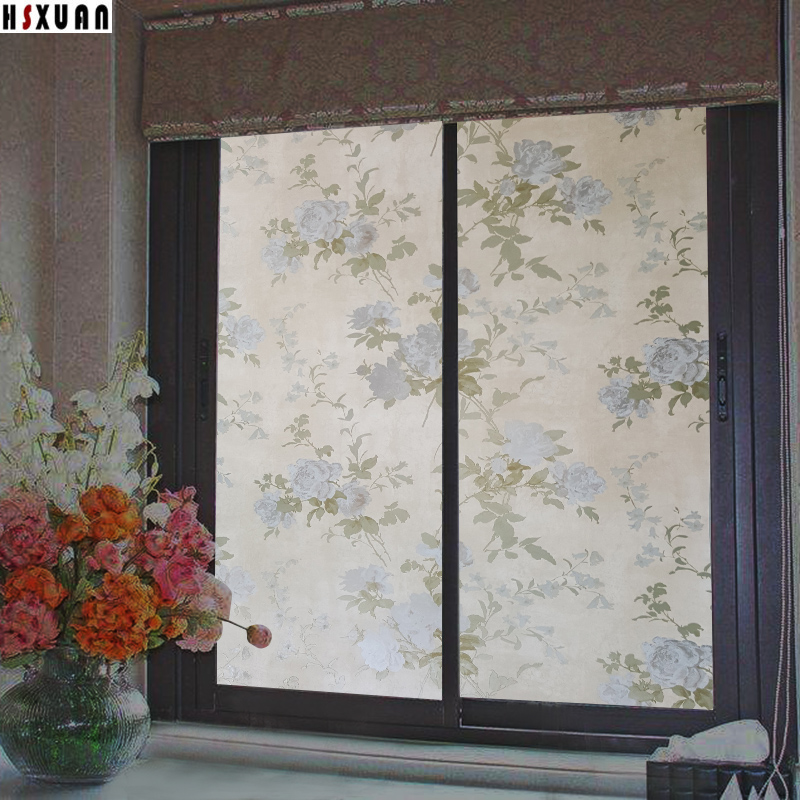 Waterproof frosted glass window film 40x100cm Colours flower home decor PVC removable film privacy static window sticker 402301
