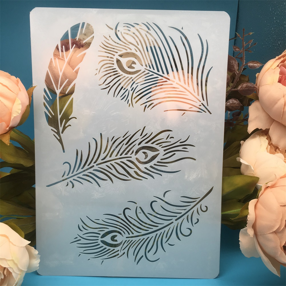 29*21cm A4 Peacock Feather DIY Craft Layering Stencils Painting Scrapbooking Stamping Embossing Album Paper Card Template