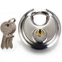 Security Padlock Silver Steel Alloy Combination Round Shape Disc Lock For Locking Doors Windows Bags Trunk
