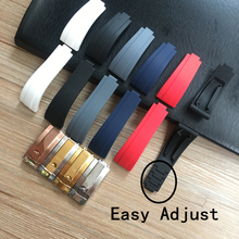 20mm Black Blue White Red Gray Nature Rubber Watchband watch band For Role strap Submariner Daytona GMT OYSTERFLEX Easy Adjust