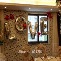40 Gold Sliver Letter LOVE 10pcs 18 Red Heart Foil Balloons Sets For Party Wedding Valentine