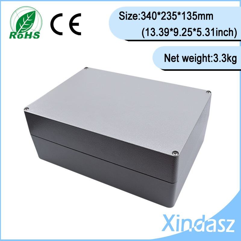 High quality 340*235*135mm 13.39X9.25X5.31Inch aluminum project cases aluminum electrical boxes metal electrical box цена 2017