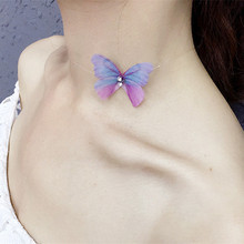 Transparent Invisible Fishing Line Chain Short Necklace Women Multicolor Butterfly Pendant Necklaces Jewelry Cute Animal Charm