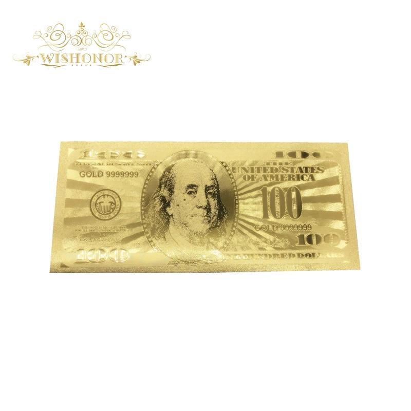 10 teile/los Souvenir Amerika USD 100 Dollar Banknote in 99.9% Goldfolie Bill Replik Für Sammlung