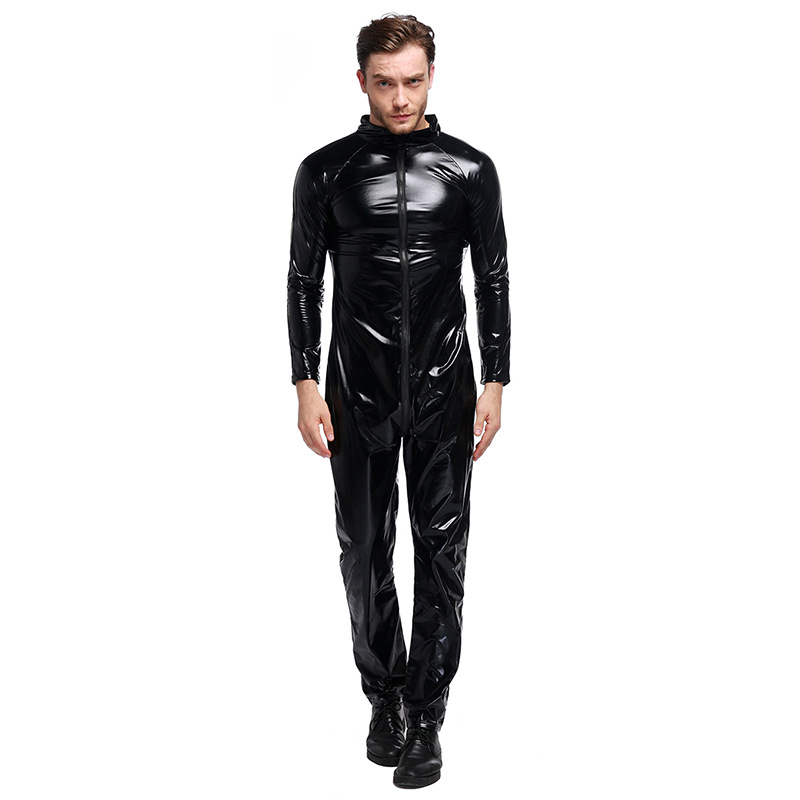 Man Faux Leather Wet Look Jumpsuit Sexy Gay Erotic Exotic Bodysuit Lingerie Costume
