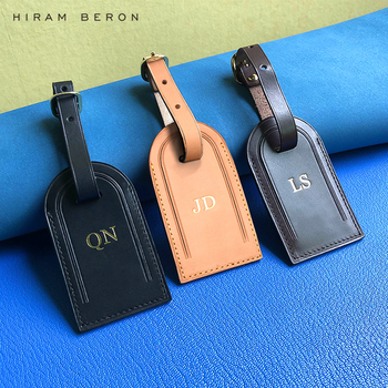 цена на Personalized Custom Initial Luggage Tags Travel Accessories Suitcase Tag Business Bag Tags Vegetable Tanned Leather Travel Tag