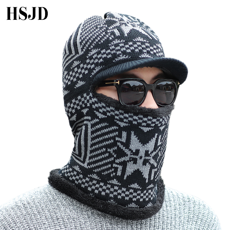 2018 Winter Hats Male Scarf   Skullies     Beanies   For Men Knitted Hat Thick Balaclava Mask Face Neck Protection Gorras Bonnet Ski Cap