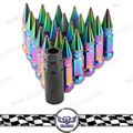 20 pcs M12 x 1.25  Steel Neo Chrome Wheels Rims Lug Nuts With Spike Extended Tuner Nut