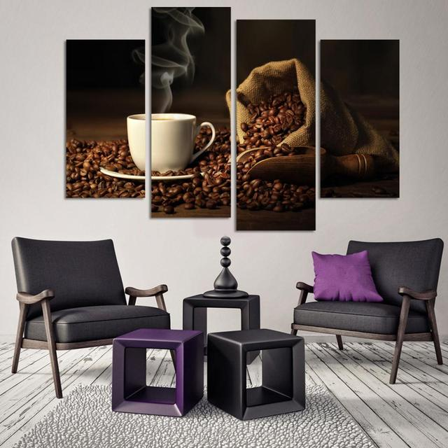 Canvas Print Art 4 Panel HD Printed Canvas Painting Coffee Wall Art  Pictures For Living Room