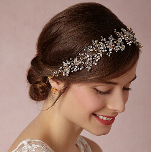 Hot sale SLBRIDAL Classic Crystal and Pearls Wedding Headpiece Hair Vine Hair accessories Headband Bridal Headdress