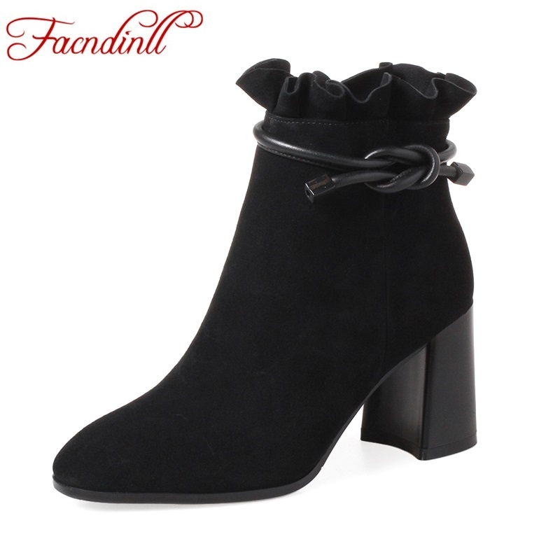 FACNDINLL women boots new fashion genuine sheep leather high heels round toe ankle boots black green zipper ladies riding boots only true love new arrival genuine leather women fashion flat heels equestrian snow boots round toe women boots