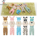 Fashion Spring Autumn cute Baby's Set Newborn Girl Cartoon Animal Infant Romper+Pants+Hat 3 Pcs Roupa infantil Bebes Boy Clothes