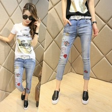 Новая коллекция весна и лето 2016 Корейских женщин моды белые джинсы тонкий тонкий патч карандаш брюки девять футов