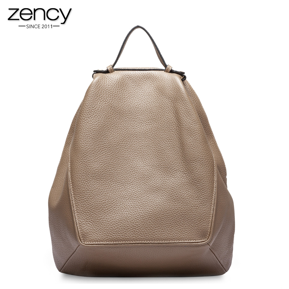 Zency New Model 100 Natural Leather Women Backpack Large Travel Bags Irregular Oval Daily Knapsack Girl