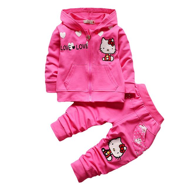 Crianças meninas Roupas de Outono Crianças Vestuário de Moda casaco de capuz + calças 2 pcs Conjuntos de Roupas Meninas Esporte terno Traje vermelho rosa verde