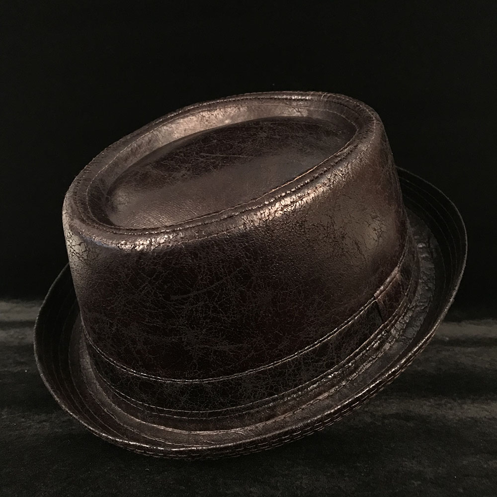 Detail Feedback Questions about 4 Big Size Leather Pork Pie Hat For ... 9294327d5ec1