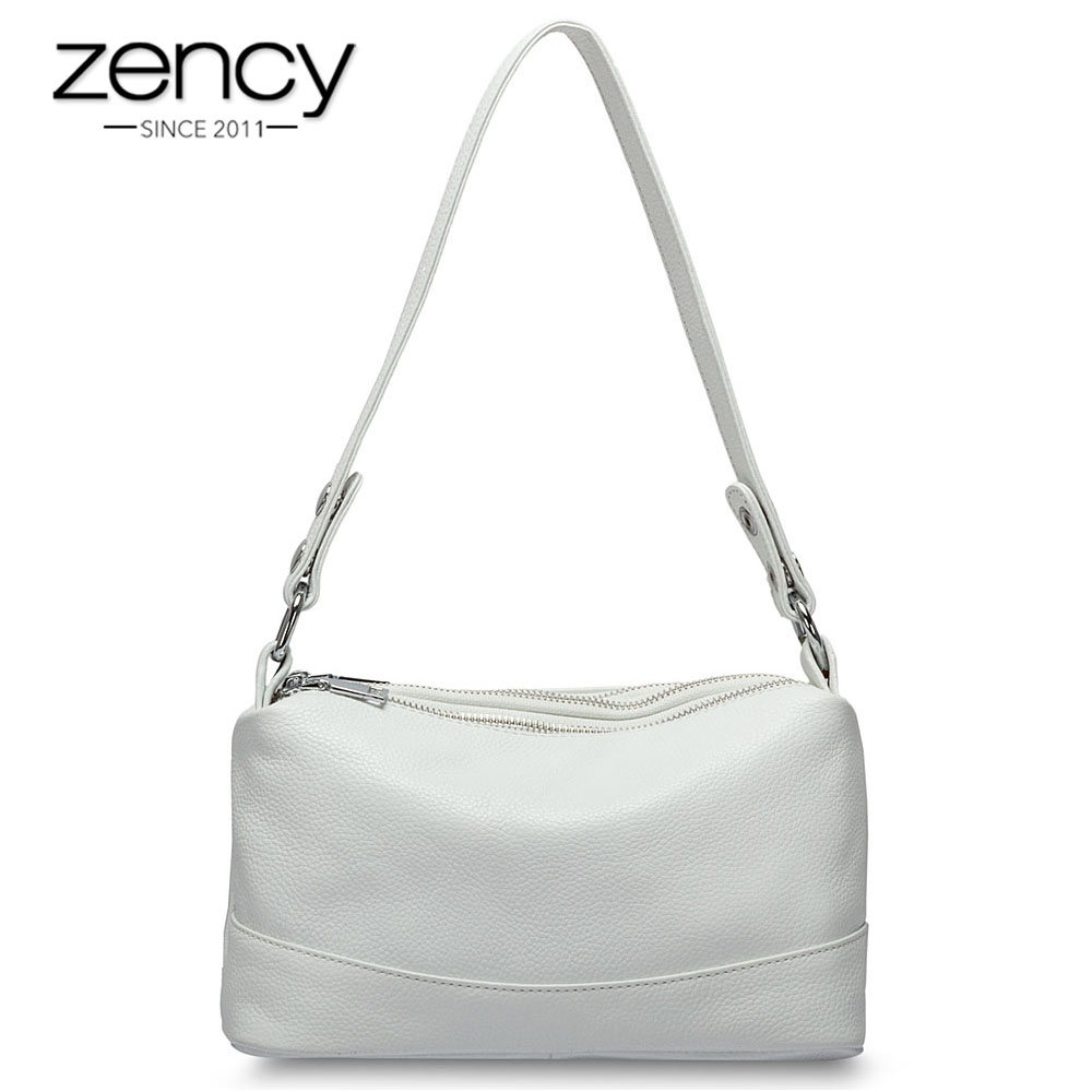 Zency 100 Genuine Leather Fashion Women Shoulder Bag Black White Handbag 3 Zippers Opening Lady Messenger