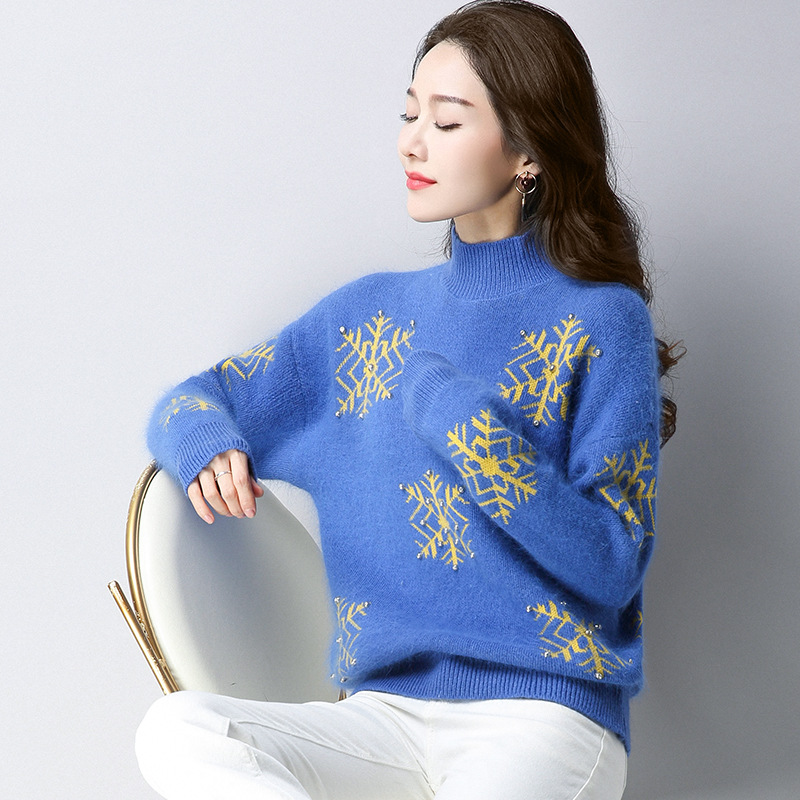 2017 Autumn Winter for women Cashmere sweater loose Warm Knitted Sweet Christmas Pullovers sweaters Casual sweater For Lady 1210