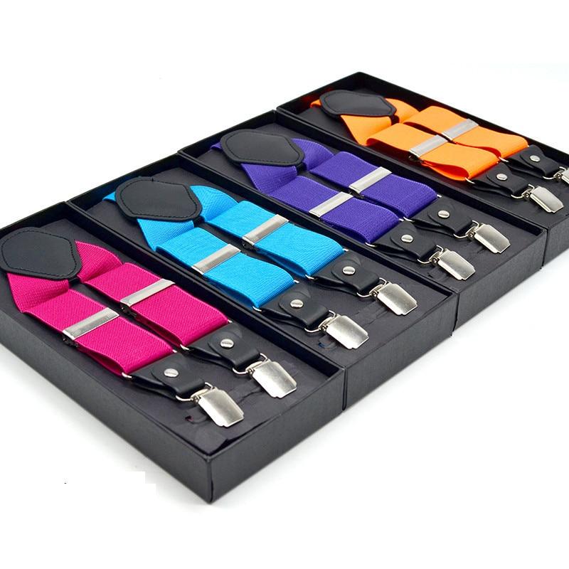 Solid Suspenders For Women Men Unisex Adult  Fashion Colorful Suspenders 4 Sliver Clips 3.5 Cm Width 120cm Length