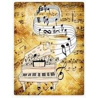 Super Soft Decken Plüsch Maschine Waschen Retro Musik Noten Klavier Cartoon Vögel Schlafsofa Werfen Cobertor Kinder Erwachsene Decke