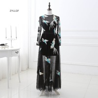ZYLLGF Evening Dress Long Sleeve Sheath O Neck Long Formal Black Cheap Evening Couture Dresses Embroidery Sale Online Q90