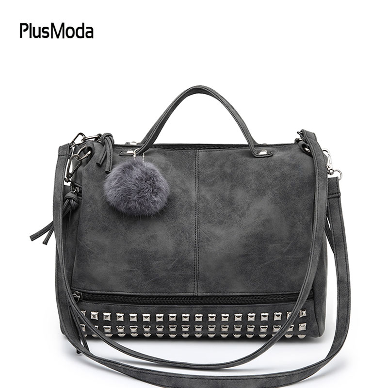 2017 Vintage Nubuck Leather Top-handle Bags Rivet Women Bags Shoulder Bag Motorcycle Messenger Bag Crossbody with Hairball Purse amelie galanti shoulder crossbody bags for women saddle purse embroidered bag with rivet long straps