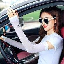 Long Gloves Scar Cover Arm Sleeves Ice Silk Sunscreen Arm Sleeves Sun UV Protection Arm Warmer Half Finger Sleeves 5AD79
