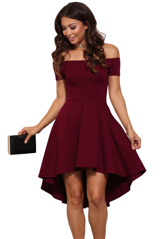 c969c8169222d Night Club summer Autumn vintage Short Sleeve stylish Slash Neck A line  Black Burgundy 50s All The Rage Skater Dress 61346 S M L-in Dresses from ...