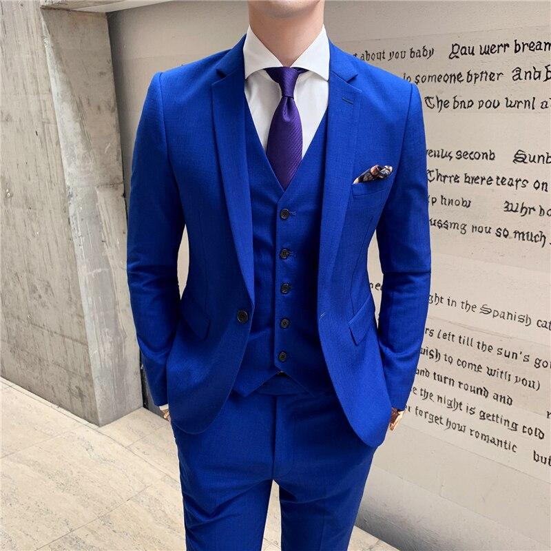 ¡Novedad de 2019! chaqueta azul para hombre, chaleco y pantalón S M L XL XXL XXXL, conjunto de 3 piezas para banquete de boda y negocios para hombre