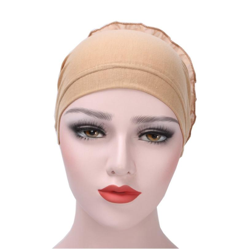 Women New Elastic Cap Turban Flower Muslim Ruffle Cancer Chemo Hat Beanie Scarf Turban Head Wrap Cap breathable Photo new cotton slouchy wrinkle cap double flower floral beanie hats for cancer chemo patients