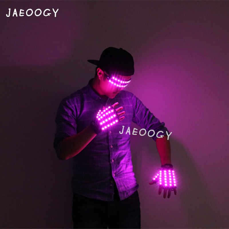 Free Shipping New High Quality LED Glowing Glasses Gloves Purple Illuminated Costume Props Christmas Party Fluorescent Gloves