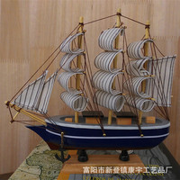 Pure handmade pine wood model, 20cm solid wood sailing model, Mediterranean sailing crafts, wooden model