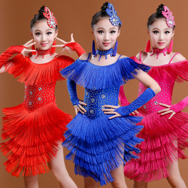 537e6a64498c New 3 Color Children Latin Rumba Tango Dance Dress Kids Stage Dress Girls  Modern Competition Latin Dance Costume