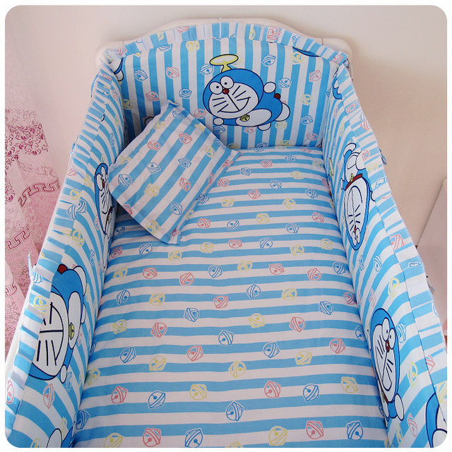 Promotion! 6PCS 100% cotton baby cot bedding sets baby crib bedding set for baby bed (bumpers+sheet+pillow cover)
