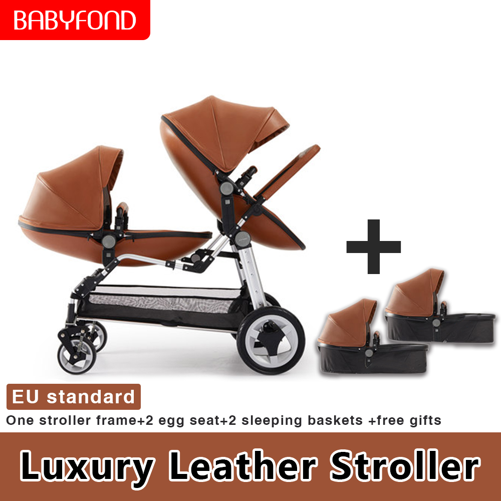 USA Fast Shipping !Twin Baby Strollers 0-5 Years Old Baby Can Sit Reclining Double Ultra Light Portable Children's Trolley
