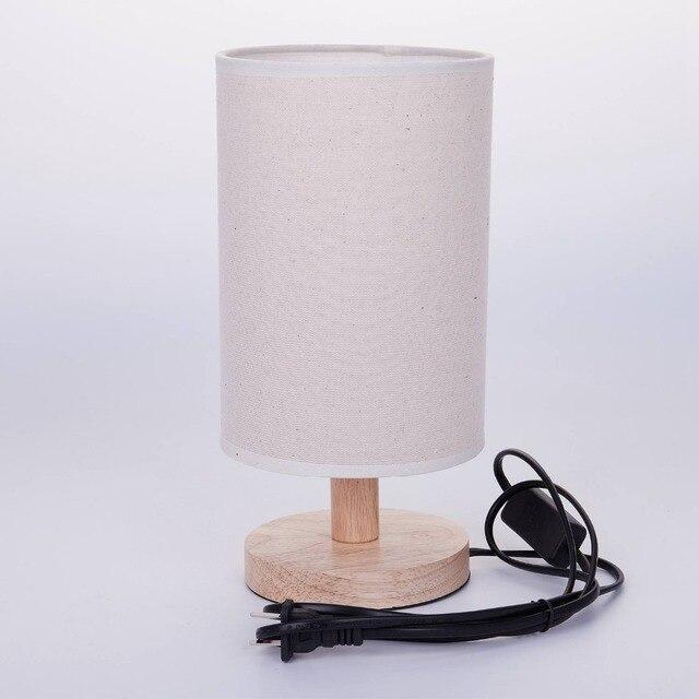Nowoczesne Drewno Posciel Nocna Minimalistyczna Lampa Stolowa E27
