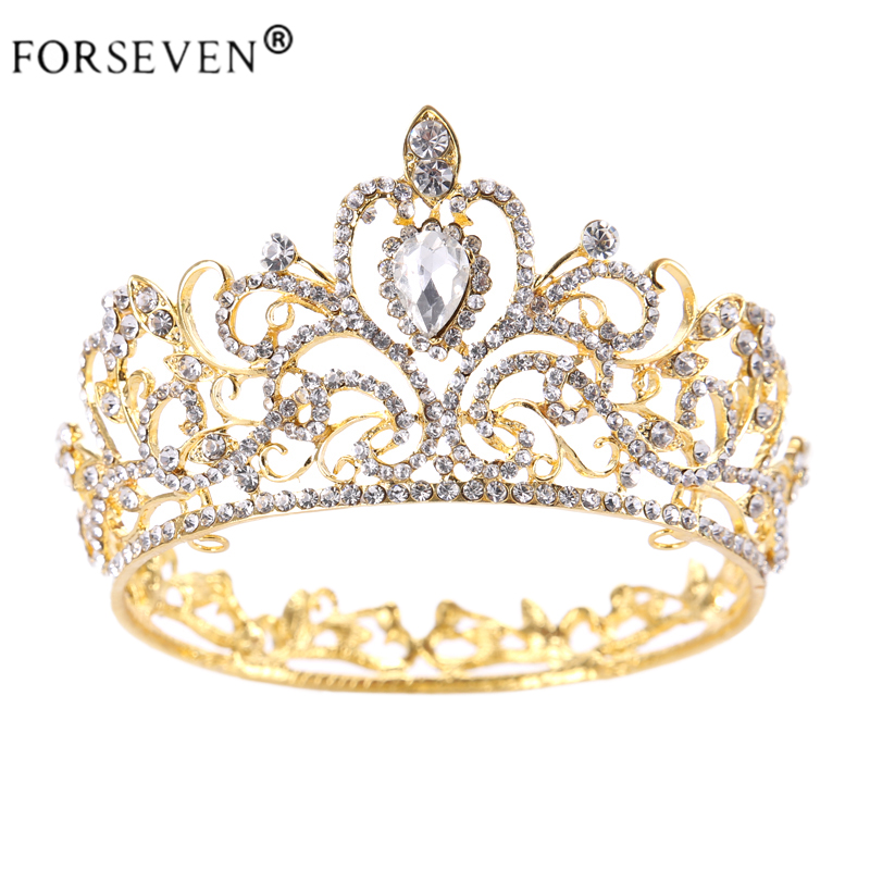 Vintage Gold Round Crystal Tiara Baroque Rhinestones Princess Queen Crown For Bride Hair Accessories Wedding Crown Hair Jewelry цена