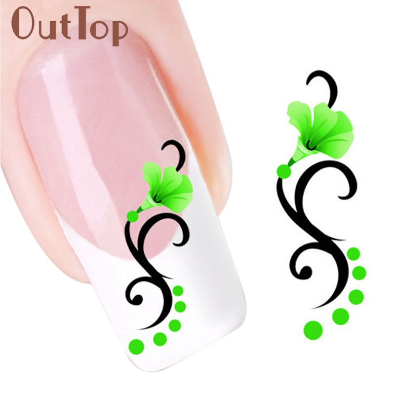 GRACEFUL 1PC Green Morning Glory Flowers Design Nail Tip Art Water Transfers Decal The sticker on the nailsFREE SHIPPING AUG26