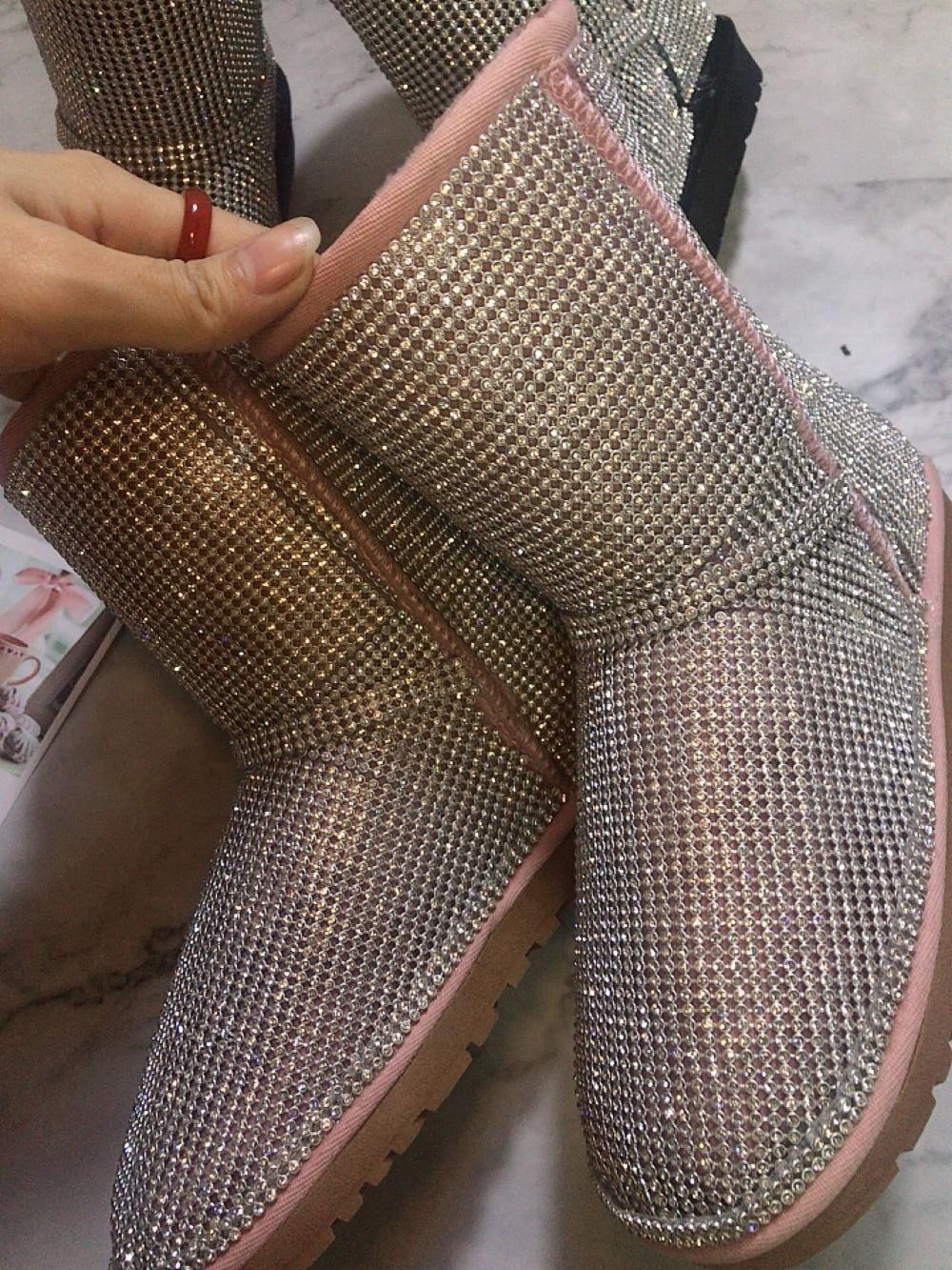Fourrure Plate Femmes Chaud Date forme Rose De Loisirs Bout Bottes mollet Plat Bling Pink Perles À L'intérieur Mode Mi Rond 6FA7xFqw