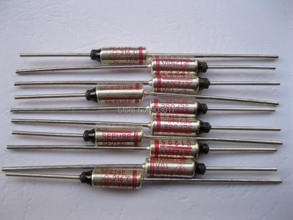 6 Pcs Per Lot Microtemp Thermal Fuse 216c Cut Off 10a 250v Hot Sale High Quality