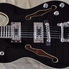 FIREHAWK Горячая двойная F отверстие TELE джаз электрогитара пользовательские полые тела гитары TL черный, прямые продажи с фабрики