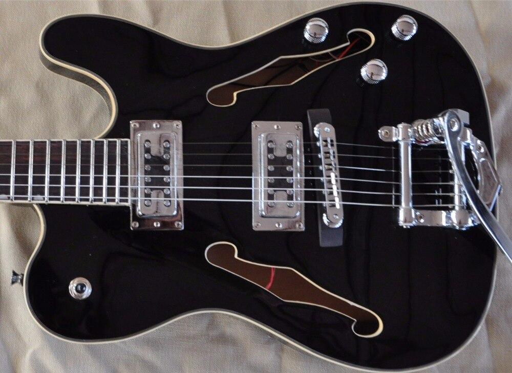 FIREHAWK chaud double F trou TELE JAZZ guitare électrique personnalisé corps creux guitares TL noir, ventes directes d'usine, livraison gratuite