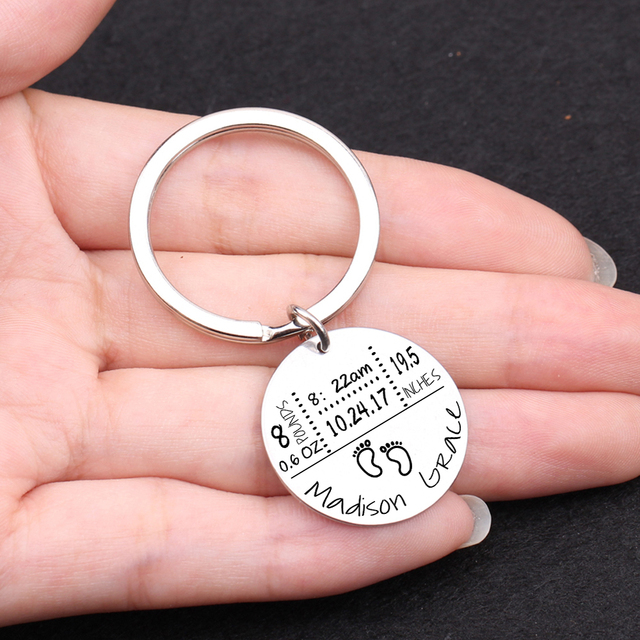 Baby Birth State Keychain Gift For First Fathers day New Mommy Gift Newborn Baby Key Pendant Women Men Key Accessories 3 Colors 5