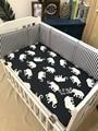 1 unid Elefante Lindo Rayas Azul Marino de Color Caqui Del Bebé Protección de parachoques Cuna ropa de cama de bebé